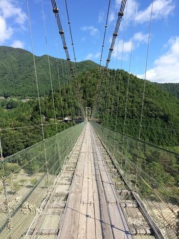 長さ297メートルの吊橋は、川面からの高さが54メートルの位置に架けられています。渡る時は、スリル満点です。