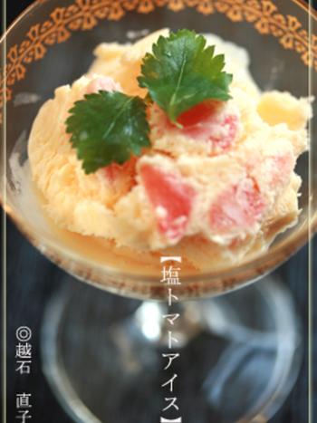 代表的な夏野菜のひとつ、トマトを使ったアイスです。凍ったトマトの味と食感が驚きだのだとか。トマトは熟していない固めのものを使う方が調理しやすく美味しいそうです。