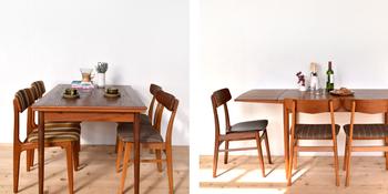 ナチュラルなテーブルと北欧らしいストライプのファブリックのチェア。テーブルは来客時には大きさが変えられるのが嬉しい♡