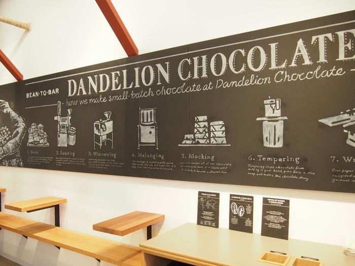 お店の壁には素敵なチョークアートが♪カカオ豆がどうやってチョコレートになるのか、その過程を知ることができます。手間ひまかけて作られた大切なチョコレート、味わうのが楽しみになりますね。