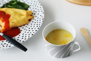 たっぷりサイズなカップは、コーヒー&紅茶はもちろん、スープカップにもぴったり。