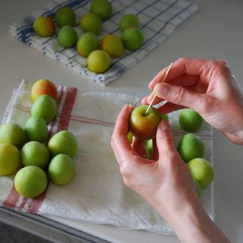 梅ひとつひとつの水気をしっかり拭い、竹串などでヘタを取ります。