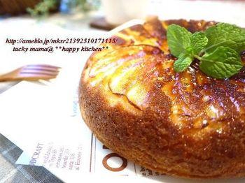 約30分で完成するお手軽ケーキ。生地にはホットケーキミックスを使っていますので、味つけも簡単です。フライパンのドーム型を活かせば、ホールケーキのような豪華なケーキに◎
