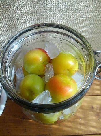 熱湯で殺菌消毒して乾かした瓶に、下処理した梅と氷砂糖を交互に入れていきます。梅と砂糖は1:1が目安です。