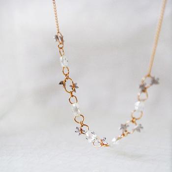 ブリオレットカットのダイヤモンドが施された、イエローゴールドのネックレスです。よく見ると小さなプラチナでできた植物がちりばめられているのが、繊細で可憐な作品です。