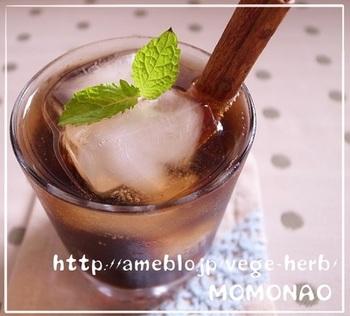 バルサミコ酢とシナモンという大人の組み合わせがスパイシーでおしゃれな炭酸ソーダです。