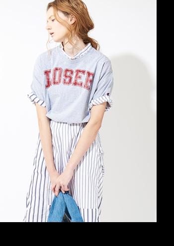 ヴィンテージな雰囲気のレトロなTシャツは、リネンやコットンなどのナチュラルなアイテムとの相性抜群です。