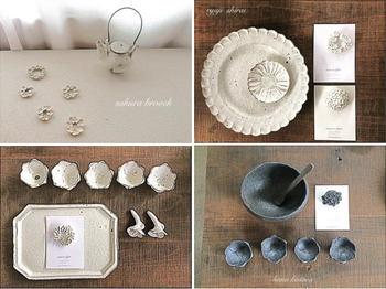 陶器などのブローチは、素材の同じ食器と合わせて飾るのも素敵☆インテリアやブローチ入れの参考にしてみてくださいね。