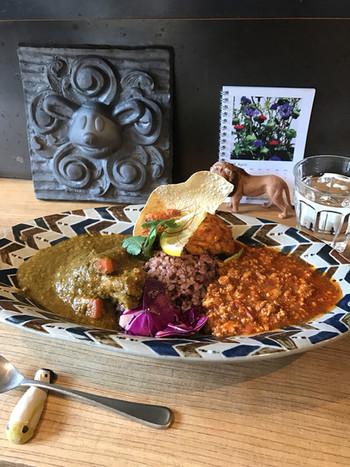 カレーは、ほうれん草やチキンやひよこ豆などが人気で、珍しい猪もあり、2種類のテイストが味わえる合がけがおすすめです。季節によって、竹の子やパクチー、トマトなどがトッピングされることも。黒米を炊き込んだヘルシーなライスに、パパド(インドの豆のクラッカー)がパリッとしてアクセントになっています。ボリュームが女性向なので、男性には大盛が◎