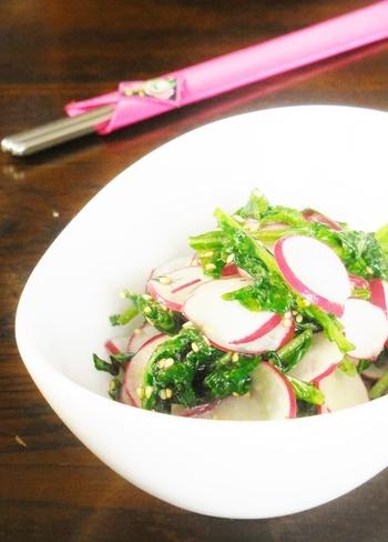 ラディッシュの葉っぱまで使った簡単ナムルです。にんにくとごま油の香りで箸が進みます。あと一品なにか足したいというときに覚えておくと便利なレシピです。