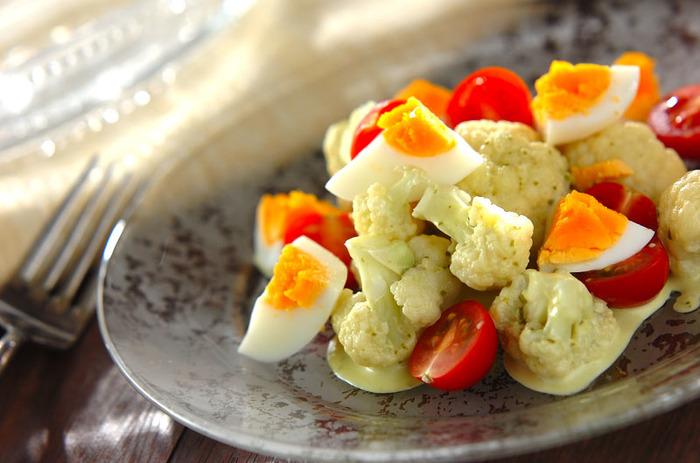 プチトマトにゆで卵という冷蔵庫にいつもある食材と組み合わせてサラダ仕立てにしました。白と黄色と赤という色味がとてもきれいですね。こちらのレシピでは市販のバジルソースとマヨネーズを合わせていますが、お好みのドレッシングで作っても美味しそうです。