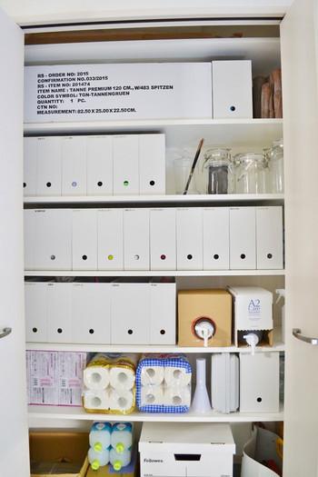 ストックは、無印良品のファイルボックスや、その他の日用品の在庫と一緒に収納庫で保管。大きさや規格を揃えることを意識すれば、こんなにたくさん収納されているのに見た目はすっきり!…なんてさすがです。