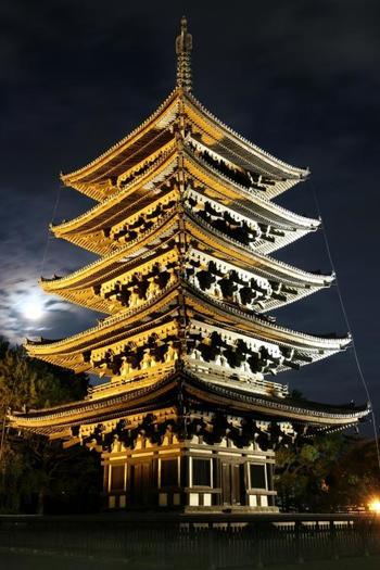 興福寺のシンボルである五重塔は、ライトアップされている中で下から見上げると思いのほか大きいうえ、陰影がくっきりとしている分とても迫力があります。じっと拝見しているだけでいつのまにか時間が経ってしまうような、厳かな佇まいです。