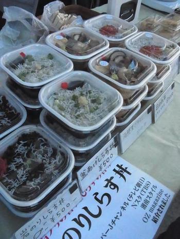 湘南名物のしらす丼。葉山の海を見ながら朝から食べられるなんて贅沢ですよね。