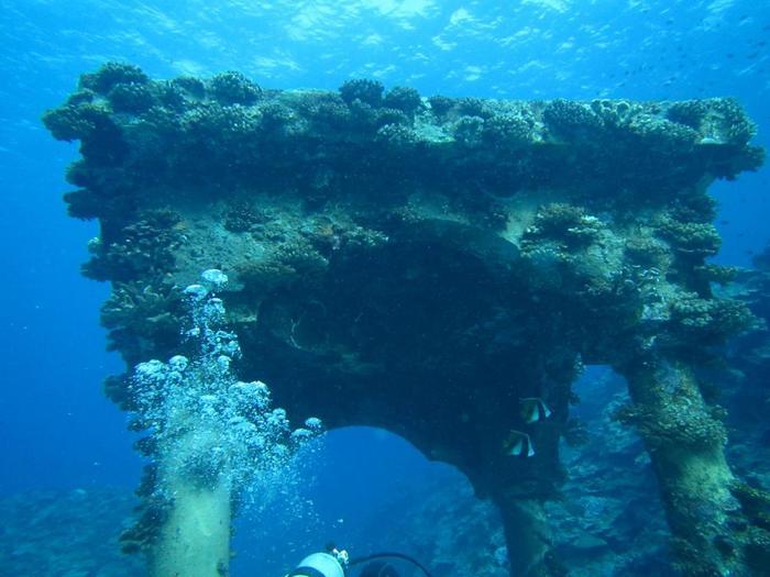 与論島はダイビングのメッカ。海中の神殿や、地形を生かしたポイントもたくさんあります。
