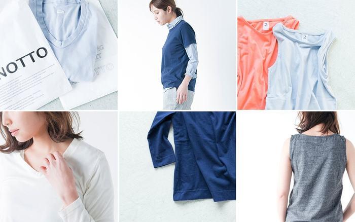 タンギスコットンを使用したKINOTTO(キノット)のカットソー。一枚でもインナーとしても使いやすい一着です。