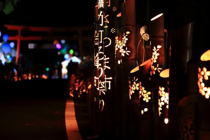 南さつま市金峰町にある金峰2000年橋とその周辺に、竹で作られた燈籠に灯りが灯されます。まさに、幽玄の世界。
