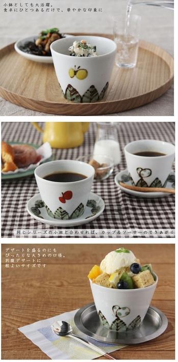 優しく温かな図柄。おかずにスイーツ、コーヒーと万能選手ぶりを発揮する、米満麻子さん(九谷青窯)の蕎麦猪口。