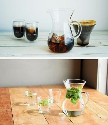 夏のおもてなしに、冷たいコーヒーはもちろん、麦茶もハーブウォーターも。もちろん、ワインも。何を入れてもきまります★300/600ml.の2種類。