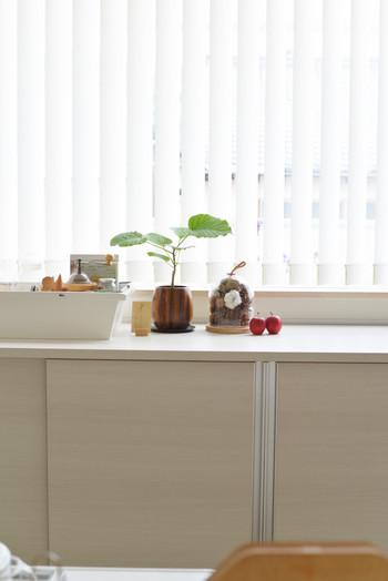 ガラスの器は窓辺に置くことがいちばん!飾り用のりんごも一緒に並べると、ぐっと素敵になります。