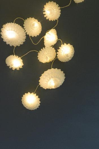 最終回の3回目の講座で作る、LEDライトを使ったライトシェード。とっても綺麗ですね。 紙で作られているとは思えない幻想的な光を演出してくれます。