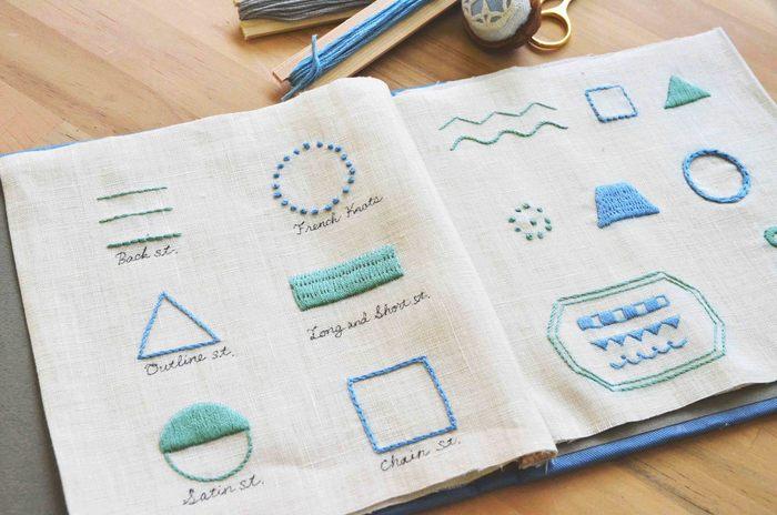 基本のステッチを学びながら作る見本帳。これだけでも素敵な作品ですね。 刺繍の基本を学びたい方、北欧のかわいい模様やデザインが好きな方におすすめです。