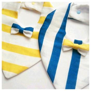 好きな生地で好きなデザインで作れるのが良いですね。こちらはさわやかな青と黄色が素敵!  ※画像は作家さんのものです