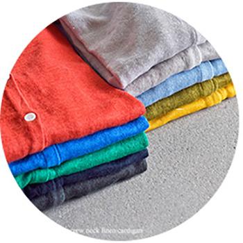 mao made(マオメイド)のUV加工クルーネックリネンカーディガン。 UVカットの施された生地は紫外線を吸収しカットしてくれる嬉しい効果があるので、秋冬のインナーとしてはもちろん、春夏の外出時の羽織りなど、オールシーズン対応の使い勝手良いアイテムです