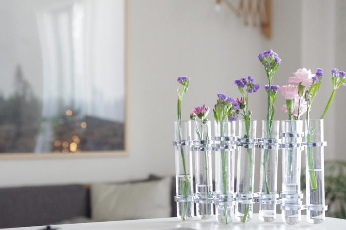 試験管のようなフラワーべースに一輪挿しの色とりどりのお花を飾って。お部屋の雰囲気もぐっと明るくなります。