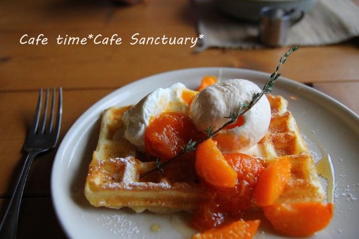 +ワッフル  もちろんパンケーキにも♪ 一日元気になれそうな朝食ですね。