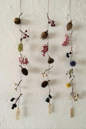 ドライフラワーを紐で結んで吊るした作品。左右に傾きながら飾られた姿が可愛らしい。ちょっと脇役になりそうな実も、存在感を発揮◎