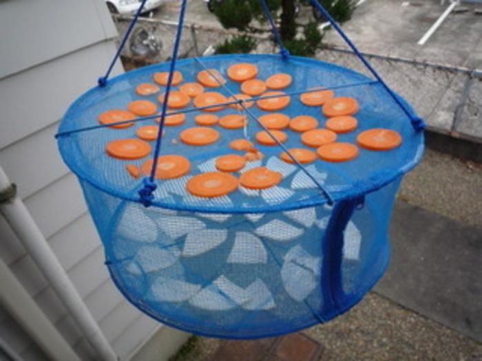 市販のネットなどに切った野菜を入れて干しておくだけで「干し野菜」が完成します。