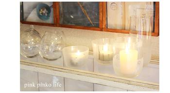 ガラスケースをキャンドルホルダーとして使っても◎ほのかな光に心癒される時間。