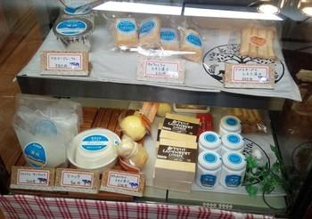 店内のショーケースには自慢のチーズがずらり。フレッシュチーズ・リコッタチーズ・モッツァレラチーズ・カマンベールチーズの他に、大人気のたまり漬けも勢揃いしています。