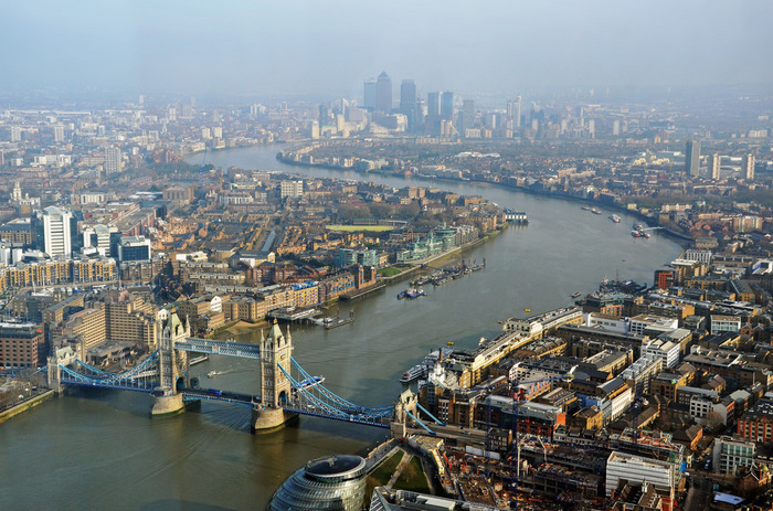ザ・シャードからは、ロンドン市街を一望することができます。