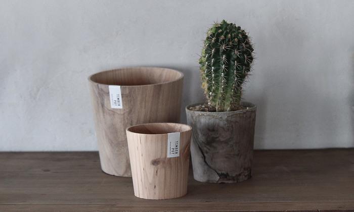 木目の美しさを感じられる鉢カバー。自然の素材同士、ナチュラルにまとまりますね。やがては土に還る自然に優しい木材を使っているのも嬉しいポイント。