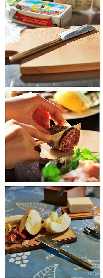 猿山 修さん(デザイン)と東屋のコラボによるチーズボードは、国産の山桜に胡桃オイルを塗りこんで仕上げたもの。いくつか揃えて、用途に応じて使ってもいいですね。