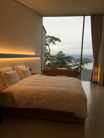 この箱型のお部屋の中はこんな感じ。もはやホテルですね。窓から優雅に絶景が眺められます。