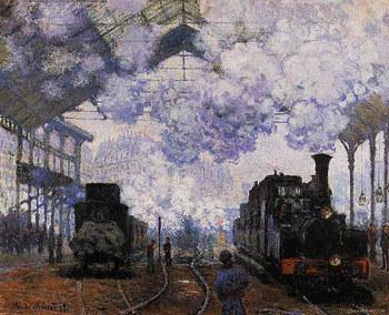 パリからジヴェルニーへの旅路のうち、電車での行き方をご紹介します。 国鉄SNCFに約1時間乗車(サン・ラザール駅~ヴェルノン駅)、その後バスに乗り換え約10分で到着(ヴェルノン駅~ジヴェルニー)で到着! 写真は、サン・ラザール駅を描いたモネの作品。現在は、近代化されている部分も多いですが、大きなプラットフォームに立つと旅情がかきたてられます。