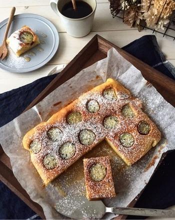 しっとり優しい味わいのさつまいもケーキ。お子さんにも人気のさつまいもは、食物繊維も豊富で大人にも嬉しいですね。さつまいものホックリとした味わいを楽しみながらティータイムはいかがでしょう。