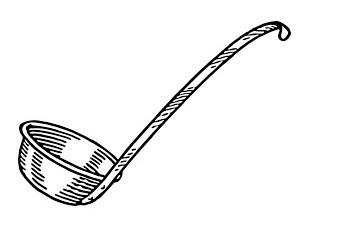 家庭用のお玉では、50~100mlが一般的。愛用のお玉の用量を量ってみましょう。