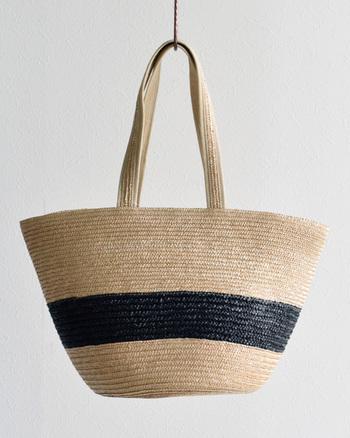 持ち手は同じ素材の編み目を生かして統一感をもったデザイン。肩に負担がかからないように端と肩にあたる部分は布製のパイピングが施されています。コロンとした可愛らしさも感じるシルエットも素敵です。