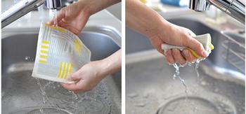 使い方は簡単!水でぬらして、軽くしぼるだけ。布ふきんのようにぎゅっと絞る必要はありません!汚れてきたら水洗いで流すだけ。また、毛羽立ちがないため、乾いた状態のままで、ガラス磨きや食器拭きにも使用できます。