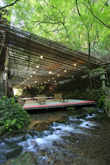 席数は最大200席と貴船でも最大級の川床。緑に囲まれ、貴船の自然を感じることができます。