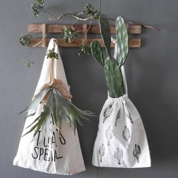 インテリアの一部として。サボテン柄の巾着袋にサボテンを入れて、壁に飾るのもすごくおしゃれですね。
