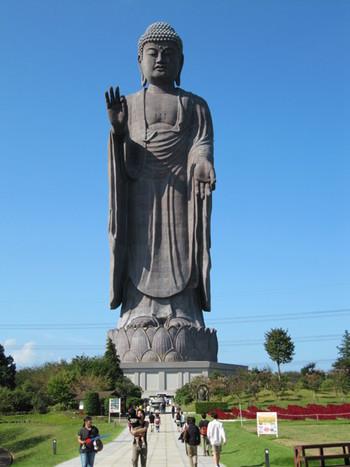 世界で一番大きな青銅製立像、「牛久大仏」は茨城県牛久市にあります。その大きさはとにかく桁違い!なんと奈良の大仏が手に乗る大きさで、ギネスブックに認定された世界最大の大仏なんです。 重さは4000t、全長は120mで、台座を除いても100m!人差し指だけで7mとその規模にただただ圧倒されます。