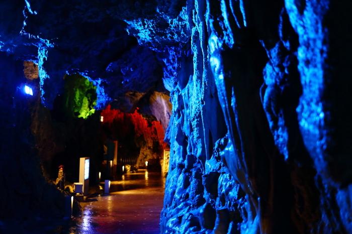 色とりどりのライトで照らし出された鍾乳洞は、雰囲気たっぷり。ここ「龍泉洞」は日本三大鍾乳洞の1つで、中で暮らすコウモリと共に天然記念物に指定されています。