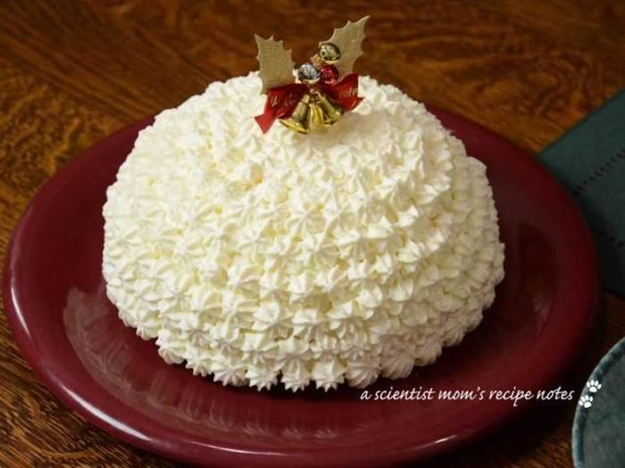 凝ったデコレーションでとても豪華に見えるドームケーキ。あっさりとしたレアチーズケーキは夏でも美味しく頂けそうですね。ゼラチン多めで、さっくり切りやすい仕上がりになっています。