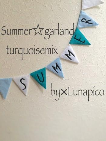 「SUMMER」のロゴが可愛い、リバーシブルのガーランドです。爽やかなターコイズブルーのグラデーションカラーとロゴで、夏気分を盛り上げてくれます!