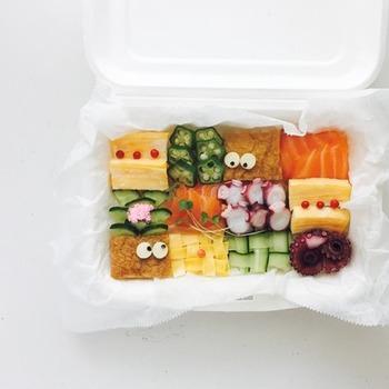思わず微笑みたくなるような可愛いアイデアを加えたモザイク寿司。大人も楽しめる、おしゃれなセンスが感じられますね。仕掛けをいろいろ考えるのも楽しみです♪